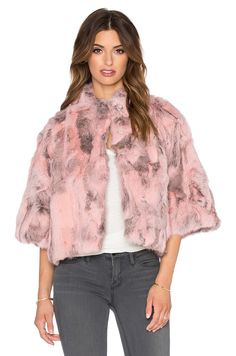 Adrienne Landau Textured Rabbit Fur Jacket in Dusty Rose