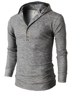 Mens Casual Slim Fit Hoodie Henley Neck T-Shirts With Button Pointed  (KMOHOL021) 370cc8355b