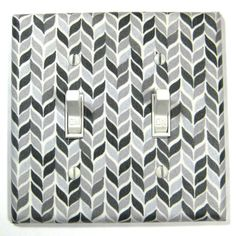 Black White and Gray Herringbone Chevron Double Light Switch Cover Modern Home Decor Wall Art Decoration. $12.00, via Etsy.