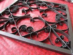 Faux Wrought Iron Wall Art From Toilet Paper Rolls (DIY)