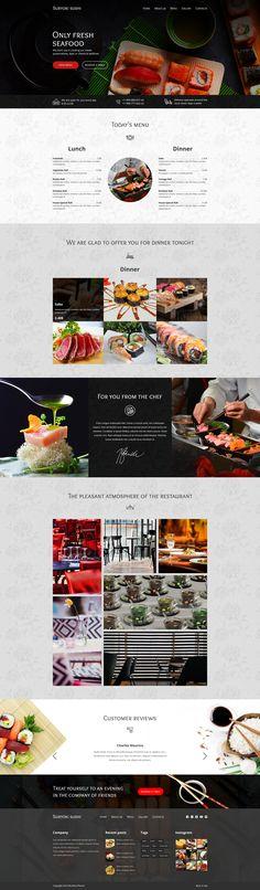 Suryoki Sushi - Restaurant PSD Template by BrothersTheme Clean Design, Ux Design, Page Design, Graphic Design, Design Your Own Website, Website Design Services, Website Designs, Web Design Inspiration, Design Ideas