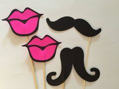 4 photo props, 2 lips and 2 Mustaches on a stick, Wedding photo props Wedding Photo Booth Props, Party Props, Wedding Shoot, Birthday Photo Booths, Birthday Fun, 19th Birthday, Lips Photo, Bridal Shower Cupcakes, Adult Party Themes