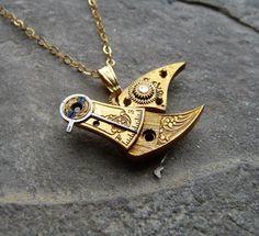 Clockwork Bird Pendant Golden Warbler Organic by amechanicalmind, $70.00
