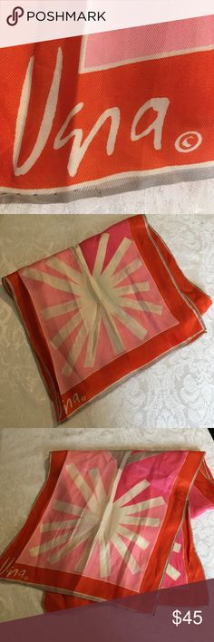 """Vintage Vera Scarf About 43""""x13"""". Pink, orange, light pink and gray colors. Needs a good iron! One very unnoticeable snag. In good condition for its age! Vera Neumann Accessories Scarves & Wraps"""