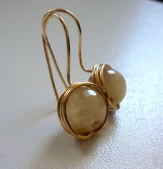 Yellow Jade Gemstone Golden Wire Wrapped Earrings
