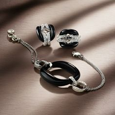 Damiani ~ D.Lace jewellery collection consists of rings, bracelets, pendants and earrings in white gold, onyx and diamonds or pink gold and agathe