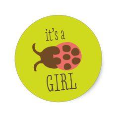 It's a Girl Ladybug Stickers #jungle #safari #theme #themed #animal #print #safari #nursery #decor #ideas #shower #gifts #gift