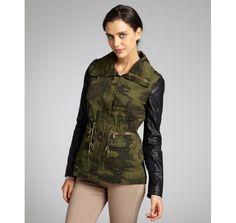 BCBGeneration olive camouflage faux leather sleeved drawstring studded jacket