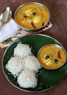 Idiyappam, traditional Kerala breakfast dish with Egg curry. Prepared with rice flour. also try with mutton curry special by the Kerala Muslim community Indian Breakfast, Breakfast Dishes, Healthy Breakfast Recipes, Healthy Recipes, Veg Recipes, Breakfast Ideas, Recipies, Indian Food Recipes, Asian Recipes