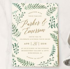 Painted Ferns Wedding Invitations by Amy Kross