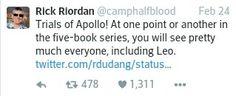 Rick Riordan, tweet, canon, Trials of Apollo, cameos, Leo