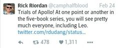 Rick Riordan, tweet, canon, Trials of Apollo, cameos, Leo