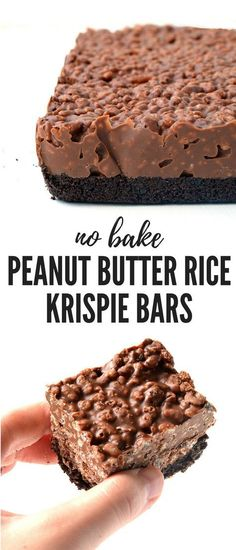 Butter Rice Krispie Bars Amazing no bake Peanut Butter Rice Krispie Bars with an Oreo crust. You only need 6 ingredients to make these gorgeous chocolate treats! Recipe from Amazing no bake Peanut Butter Rice Krispie Bars with an Oreo crust. Rice Krispie Bars, Peanut Butter Rice Krispies, Recipes Using Rice Krispies, Oreo Rice Krispie Treats, Chocolate Rice Krispies, Vegan Rice Crispy Treats, Rice Krispy Treats Recipe, Vegan Treats, Bon Dessert