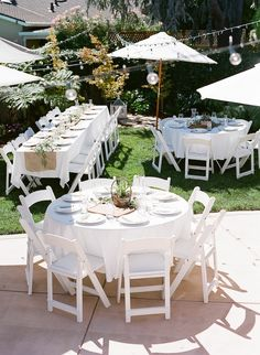 Loving the different shaped tables being used - love a long table, but. Ant go past a round table either - so have both!