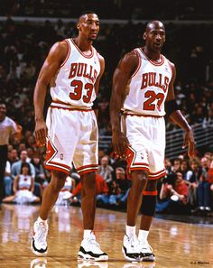 Scottie Pippin and Michael Jordan of the Chicago Bulls shown on the basketball court together in the where the two were the force behind six NBA championships. Nba Pictures, Basketball Pictures, Love And Basketball, Nba Players, Basketball Players, Basketball Court, Kobe Bryant, Michael Jordan Birthday, Michael Jordan Basketball