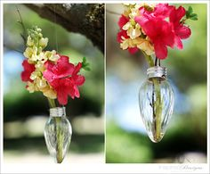 Cute tree ornaments made with light bulbs and flowers. Imagine these at weddings or birthday parties.
