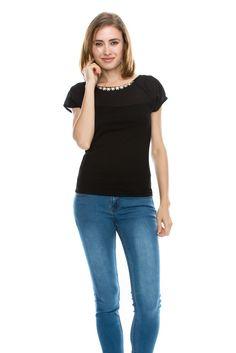 Sue&Caleb womens plus size model rhinestones embellishment Short sleeve stretchy top at Amazon Women's Clothing store: