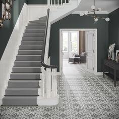 Crafted Cement Heritage Pattern W&F Edwardian Hallway, Edwardian House, Edwardian Staircase, Victorian Hallway Tiles, Grey Hallway, Tiled Hallway, Hallway Mirror, Entrance Hall Decor, House Entrance