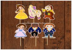 Belle and friends Cupcake Toppers 12 by BlossomEvents on Etsy