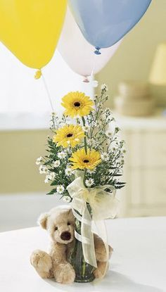 Baby Shower Flower Arrangement with Teddy Bear {flowers by: Medford Florist and Boutique} More