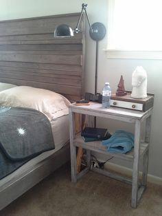 Master bedroom wall lamp rustic headboard nightstand