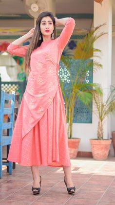 sold by CS VILLE for more contact 9891403364 Peach Colors, Kurti, Latest Fashion, Vintage, Things To Sell, Style, Swag, Vintage Comics, Outfits
