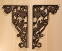 Large Wrought Iron Grape Vine Shelf Brackets Are you tired of finding the same old bland shelf brackets? If you want a shelf bracket that will inspire your unique designs than your search is over. Mad