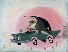 coyote car painting Brigette Barrager Car Painting, Art Gallery, Prints, Drawings, Artwork, Retro Illustration, Movie Posters, Coyotes, Design