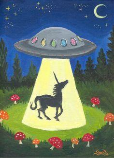 Unicorn UFO fantasy sci fi art 5 x 7 print alien spaceship cute lowbrow pop surrealism science ficti Unicorn And Glitter, Real Unicorn, The Last Unicorn, Unicorn Art, Art Beat, Sci Fi Kunst, Alien Spaceship, Alien Abduction, Unicorns And Mermaids