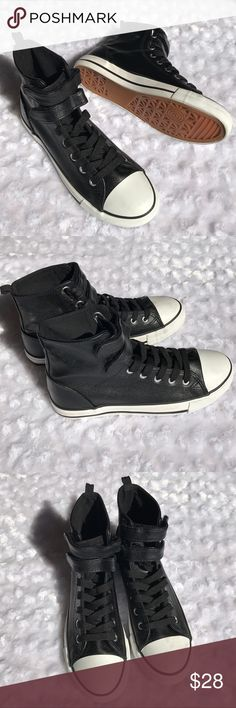 •new• BLACK HIGH TOP SNEAKERS Sleek and Chic! Pairs great with your ankle pants, skinny leggings or your choices. Black laces and double Velcro fastening. White contrast around sole. You can easily PoP your collar with these shoes on for STYLE/FUN 51Twenty Shoes
