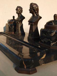 Antik Historismus SCHREIBTISCHGARNITUR ca1850 GOETHE SCHILLER Bronze Federhalter