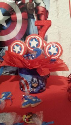 Captain America Super hero Cookie bouquet made for my grandson's birthday