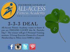 Feeling lucky? #facebook #pinterest #instagram #stpatricksday #2014 #aafa #allaccessfitnessacademy #contest #FREE #personaltraining #groupex #exercise #groupexercise #gym #wellness #fitness #physicaltherapy #milon #membership