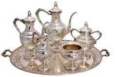 Schofield Sterling Silver Tea & Coffee Service With Tray Grape & Vine Pattern
