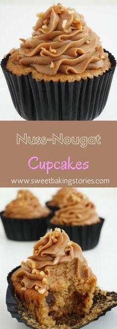 Saftige Haselnuss-Mandel Cupcakes mit Nougat-Topping