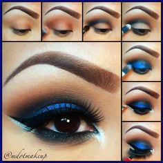 Eye Makeup Tips.Smokey Eye Makeup Tips - For a Catchy and Impressive Look Blue Eyeshadow, Blue Eye Makeup, Eyeshadow Looks, Eyeshadow Makeup, Dramatic Eyeshadow, Asian Makeup, Korean Makeup, Korean Skincare, Eye Makeup Steps