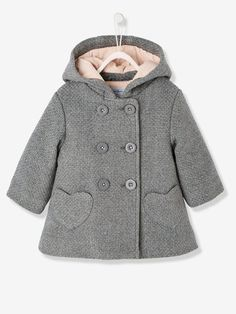 An coat for the baby with a very warm woollen effect, with lining and super elegant! Coat with a woollen effect for baby girls Double-breasted button fastening Integrated hood Heart-shaped pocket Baby Outfits, Little Girl Dresses, Baby Dress Design, Kids Fashion, Fashion Outfits, Baby Coat, Kind Mode, Toddler Girl, Baby Girls