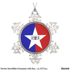 Shop Pewter Snowflake Ornament with San Antonio Flag created by AllFlags. Snowflake Ornaments, Ball Ornaments, Snowflakes, Black White Red, Red And Blue, Family Memories, Holiday Festival, Poinsettia