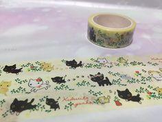 black cat white Cat washi tape 5M x 1.5 cm Cute by TapesKingdom