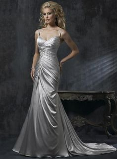 Silver V-neck Beaded Lace Column/Sheath Wedding Dress