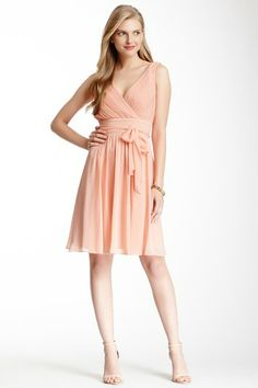 SL Fashion Pleated Belted Surplice Dress by SL Fashion on @HauteLook @Natalie Vander Hulst this is peach but really cute too!