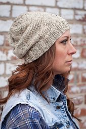 Simple and classic, this stockinette cap can be worn slouchy or with the brim folded up for a snug fit.