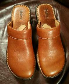 BORN Brown Leather Wedge Platform Heel Slide On Clog Mule Shoes W5634 9M 40.5…