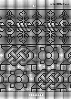 """"""" Spanish 16th c. table cover: border of S's and flowers, with center all-over design of flowers and knotwork (border: 39 high with 30 repeat; center: 52 repeat vertically with 66 repeat horizontally; single flower: 23 by 23; single knotwork: 23 high by 39 wide)    This is from a fragment of a table cover done in cross stitch with """"pink, yellow and green silk thread"""" (Rome & Devlin), but the photograph was in black and white. Cooper-Hewitt Museum of Design, Smithsonian Institution, New…"""