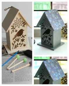 Boy, Oh Boy, Oh Boy Crafts: Birds of Winter Birdhouse with @plaidcrafts products. #madewithmichaels #plaidcrafts