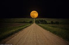 Sometimes, you get lucky and a great shot presents itself to you. However, you shouldn't resort to Photoshop! Beautiful Moon, Beautiful World, Beautiful Places, Beautiful Roads, Beautiful Wife, All Nature, Amazing Nature, Nature Pics, Spring Nature