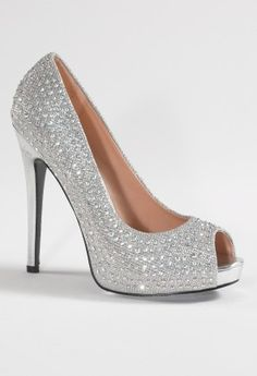 High heel open toe pump features:<br><br>•4.5 heel<br>•Matching covered heel<br>•Non skid sole<br>•Padded insole<br>•Medium width only silver gold or black