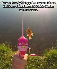 Funny Pictures - - LOVE this!  I have a little rod like this that's just perfect for stream fishing!
