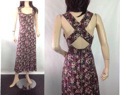 Vintage Grunge Floral Maxi Sun Dress #sixcatsfunVINTAGE #softgrunge #grungefloral #vintage #sundress