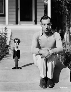Buster Keaton with a 'Buster Keaton' Doll, 1930